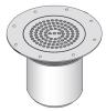 Render del sumidero EG150 FIJO, fabricado en acero inoxidable AISI304, de dimensiones Ø225 H112 con marco para clipaje de tela, salida vertical DN100, con sifón, con reja perforada con fijación clase de carga K3.