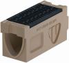 Render del canal registro MONOBLOCK RD200V 0.1 L660 H330 de hormigón polímero con reja pasarela de fundicón F900, sistema de fijación Drainlock, preformas laterales rompibles L-T-X y preforma vertical rompible