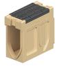 Render del canal registro MONOBLOCK RD200V 20.1 L660 H530 de hormigón polímero con reja pasarela de fundicón F900, sistema de fijación Drainlock, preformas laterales rompibles L-T-X y preforma vertical rompible