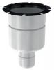 Render do corpo de ralo industrial EG TELESCOPICO, fabricado em acero inoxidável AISI304, de dimensões Ø182 H261 fundo Ø157, sem aro, saída vertical DN75, com sifão e cesto.
